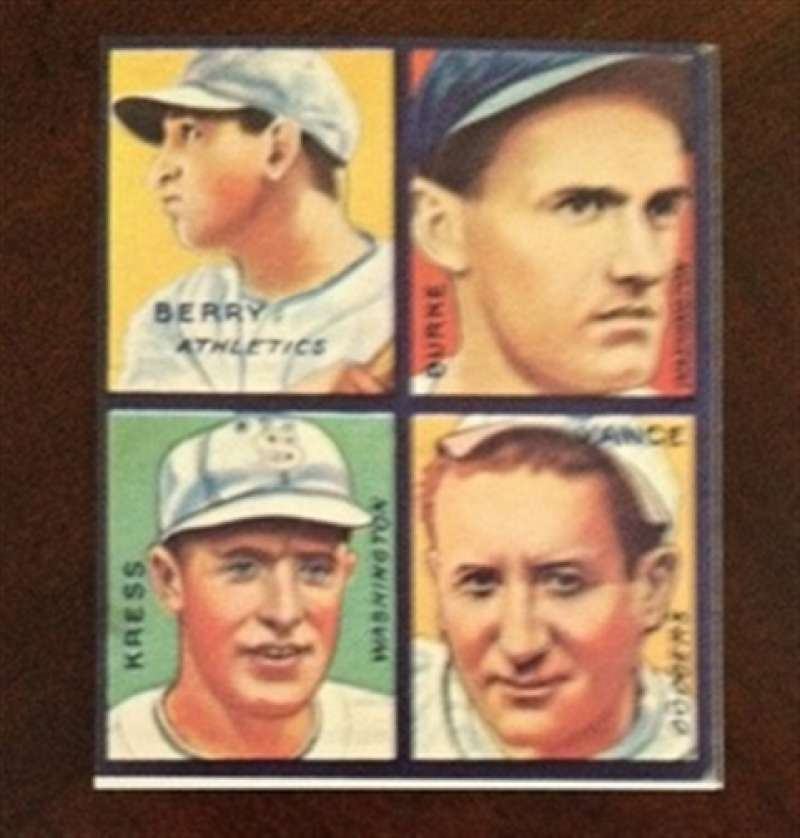 1935 Goudey Reprint 4 on 1 Athletics Senators Dodgers Players
