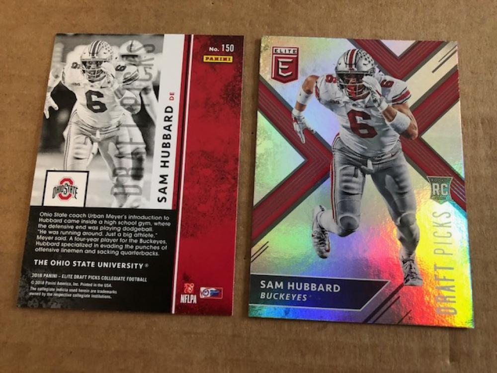 2018 Panini Elite Draft Picks  #150 Sam Hubbard (running) Ohio State Buckeyes Football Card