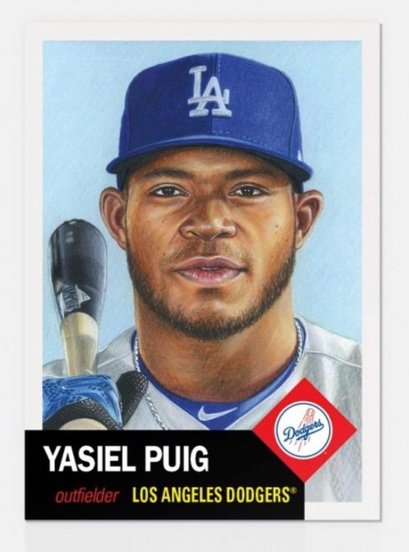 2018 Topps The Living Set #66 Yasiel Puig Los Angeles Dodgers Online Exclusive Baseball Trading Card SOLD OUT at Topps