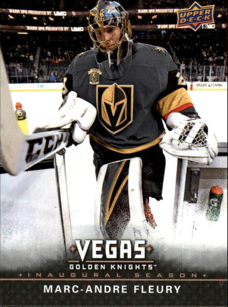 2017-18 Upper Deck Vegas Golden Knights Inaugural Season Hockey #1 Marc-Andre Fleury Official NHL Trading Card RARE