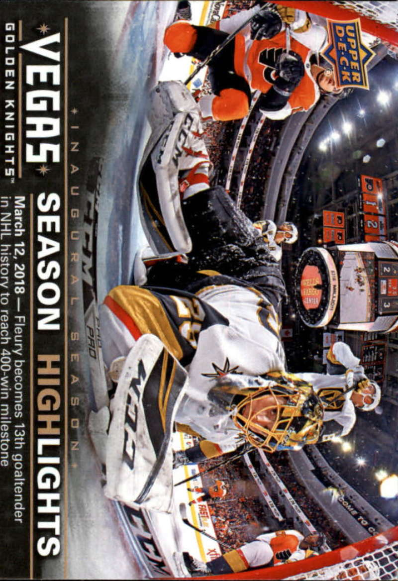 2017-18 Upper Deck Vegas Golden Knights Inaugural Season Hockey #46 Fleury 400 Wins Official NHL Trading Card RARE