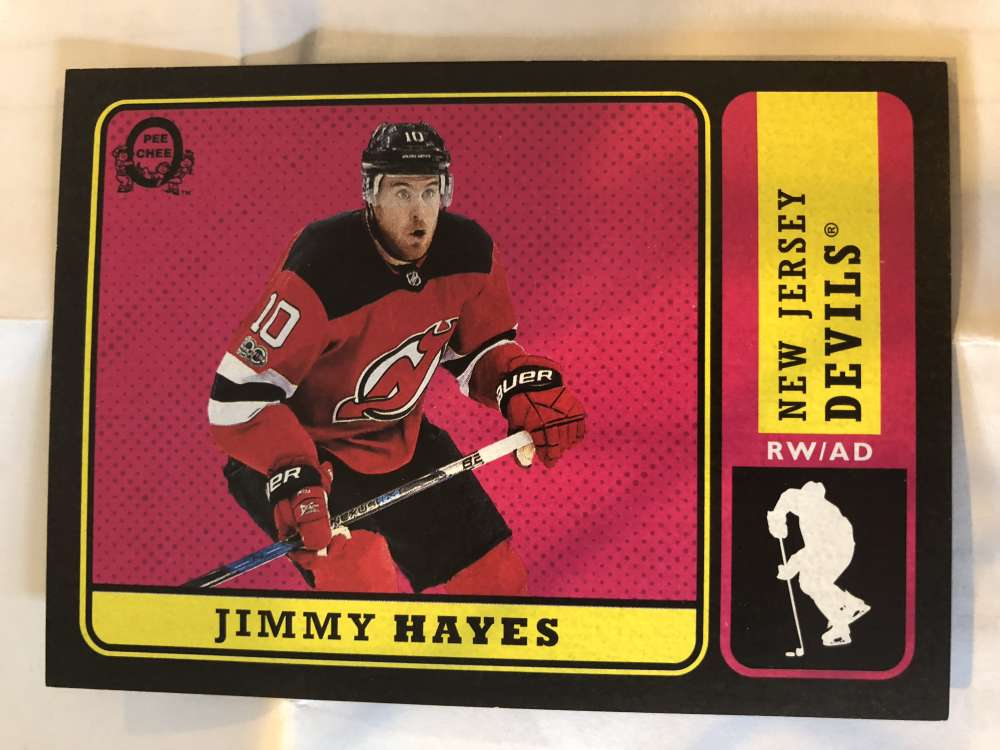 2018-19 O-Pee-Chee Retro Black Border SER100 #481 Jimmy Hayes New Jersey Devils 18-19 Official OPC Hockey Card (made by Upper Deck)