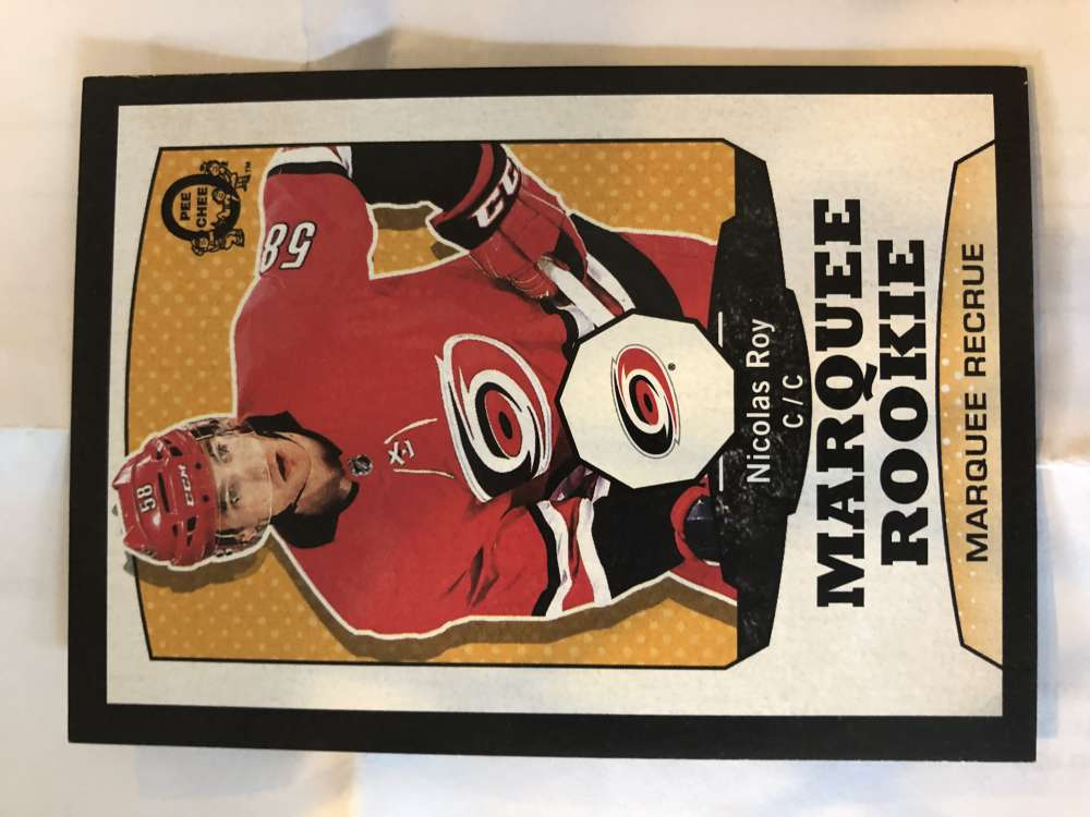 2018-19 O-Pee-Chee Retro Black Border SER100 #503 Nicolas Roy Carolina Hurricanes RC Rookie 18-19 Official OPC Hockey Card (made by Upper Deck)