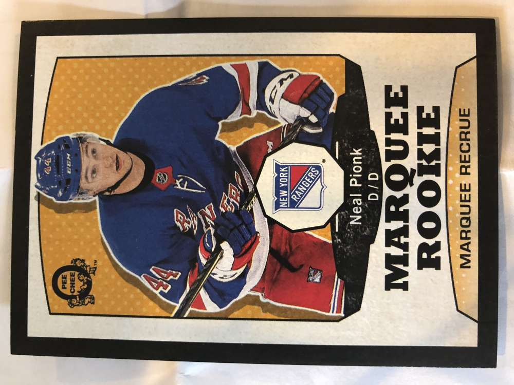 2018-19 O-Pee-Chee Retro Black Border SER100 #514 Neal Pionk New York Rangers RC Rookie 18-19 Official OPC Hockey Card (made by Upper Deck)