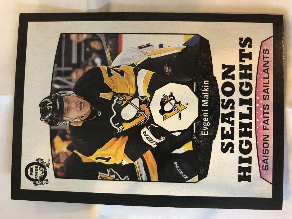 2018-19 O-Pee-Chee Retro Black Border SER100 #552 Evgeni Malkin Pittsburgh Penguins  Season Highlights 18-19 Official OPC Hockey Card (made by Upper D