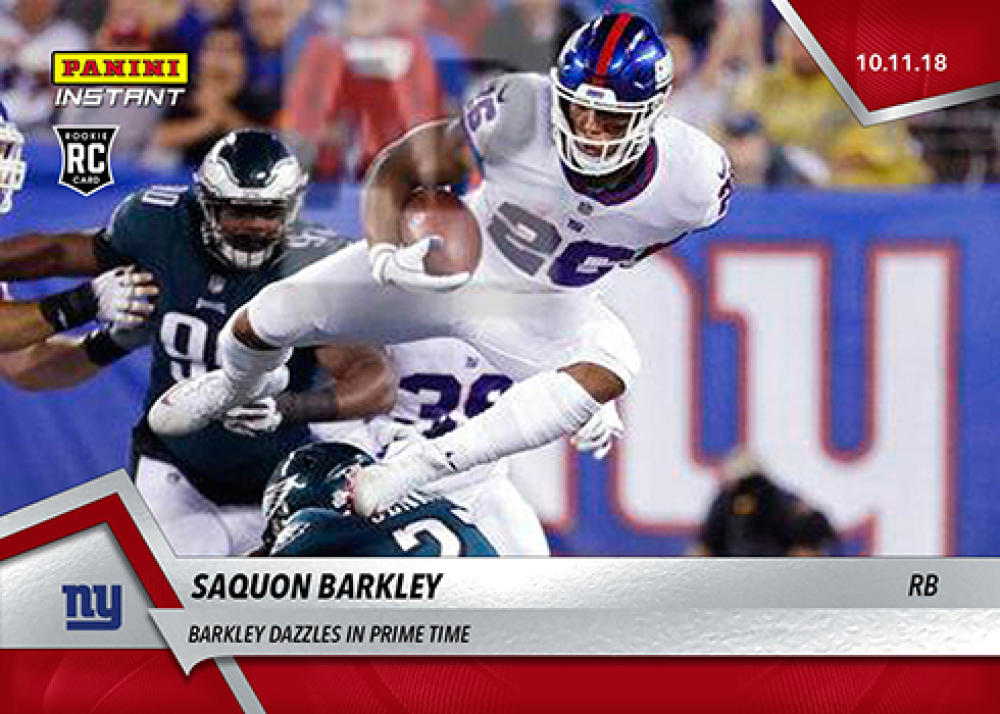 2018 Panini Instant NFL Football #60 Saquon Barkley New York Giants RC Rookie  Dazzles in Prime TIme Print Run 105