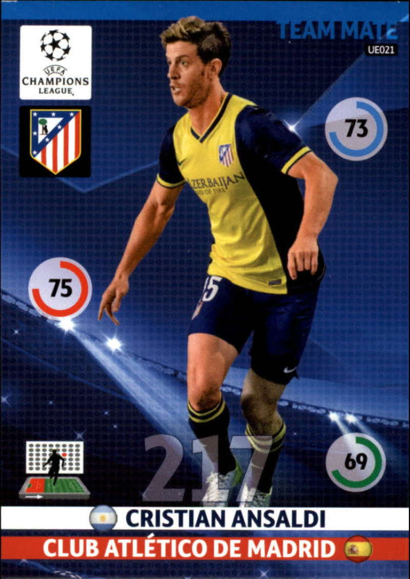 2014-15 UEFA Champions League Adrenalyn XL Update Edition Soccer #UE021 Cristian Ansaldi Atletico Madrid  Official Futbol Trading Card by Panini