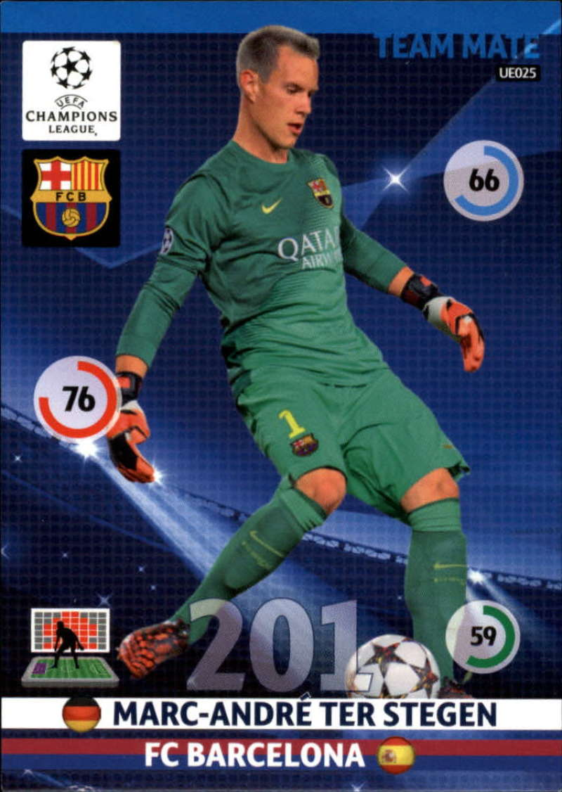 2014-15 UEFA Champions League Adrenalyn XL Update Edition Soccer #UE025 Marc-Andre Ter Stegen F.C. Barcelona  Official Futbol Trading Card by Panini