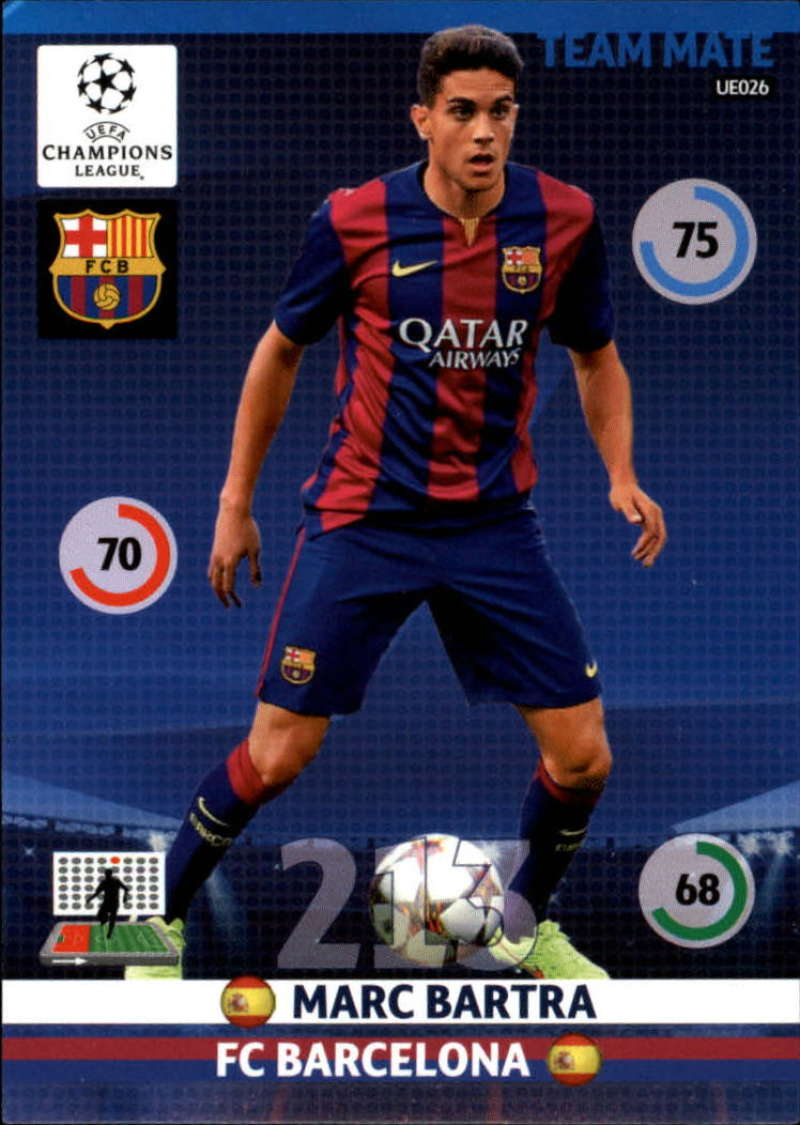 2014-15 UEFA Champions League Adrenalyn XL Update Edition Soccer #UE026 Marc Bartra F.C. Barcelona  Official Futbol Trading Card by Panini