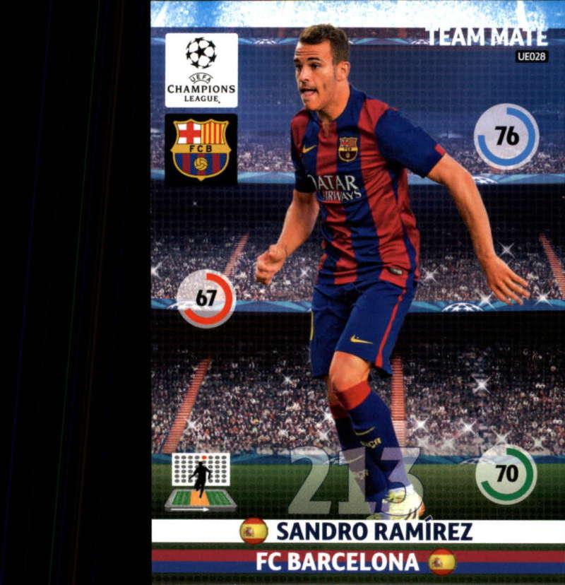 2014-15 UEFA Champions League Adrenalyn XL Update Edition Soccer #UE028 Sandro Ramirez F.C. Barcelona  Official Futbol Trading Card by Panini