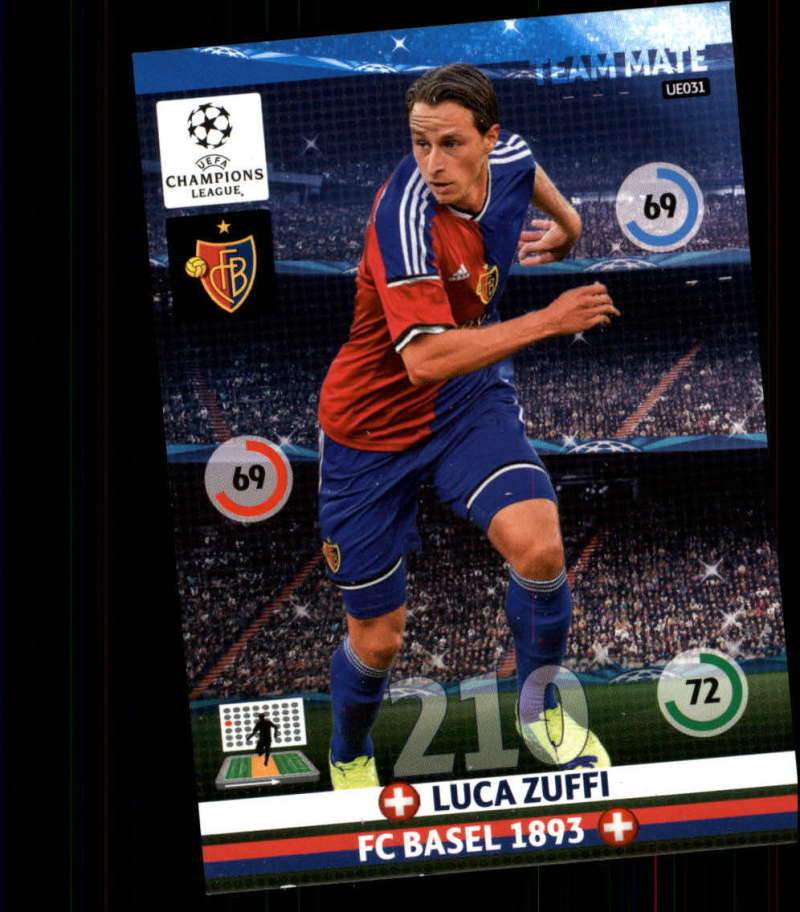 2014-15 UEFA Champions League Adrenalyn XL Update Edition Soccer #UE031 Luca Zuffi FC Basel  Official Futbol Trading Card by Panini
