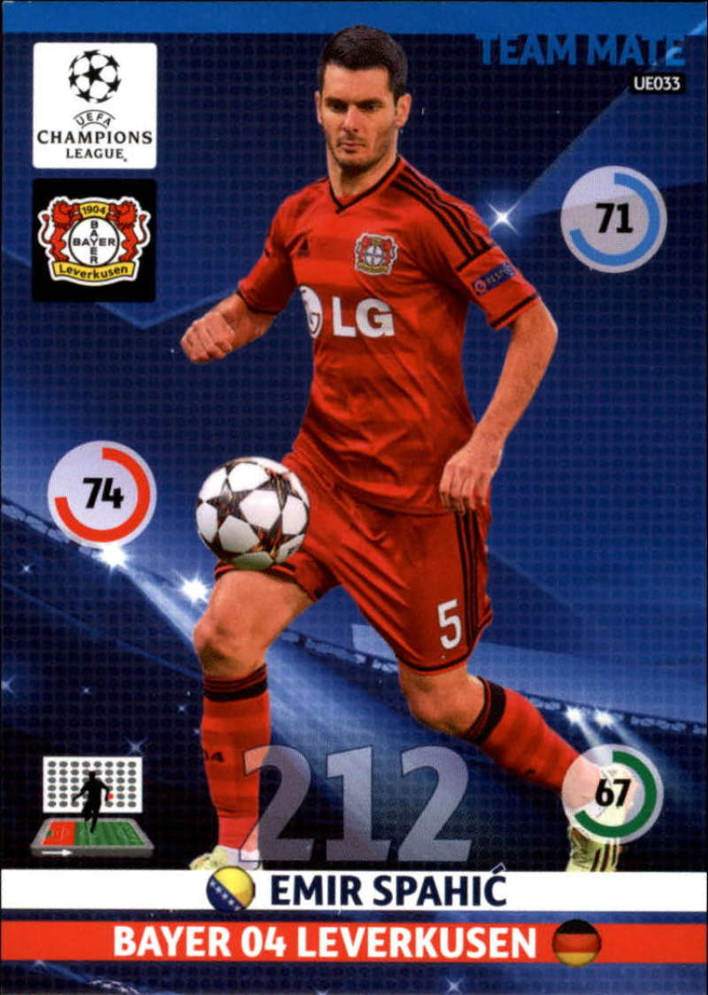 2014-15 UEFA Champions League Adrenalyn XL Update Edition Soccer #UE033 Emir Spahic Bayer 04 Leverkusen  Official Futbol Trading Card by Panini