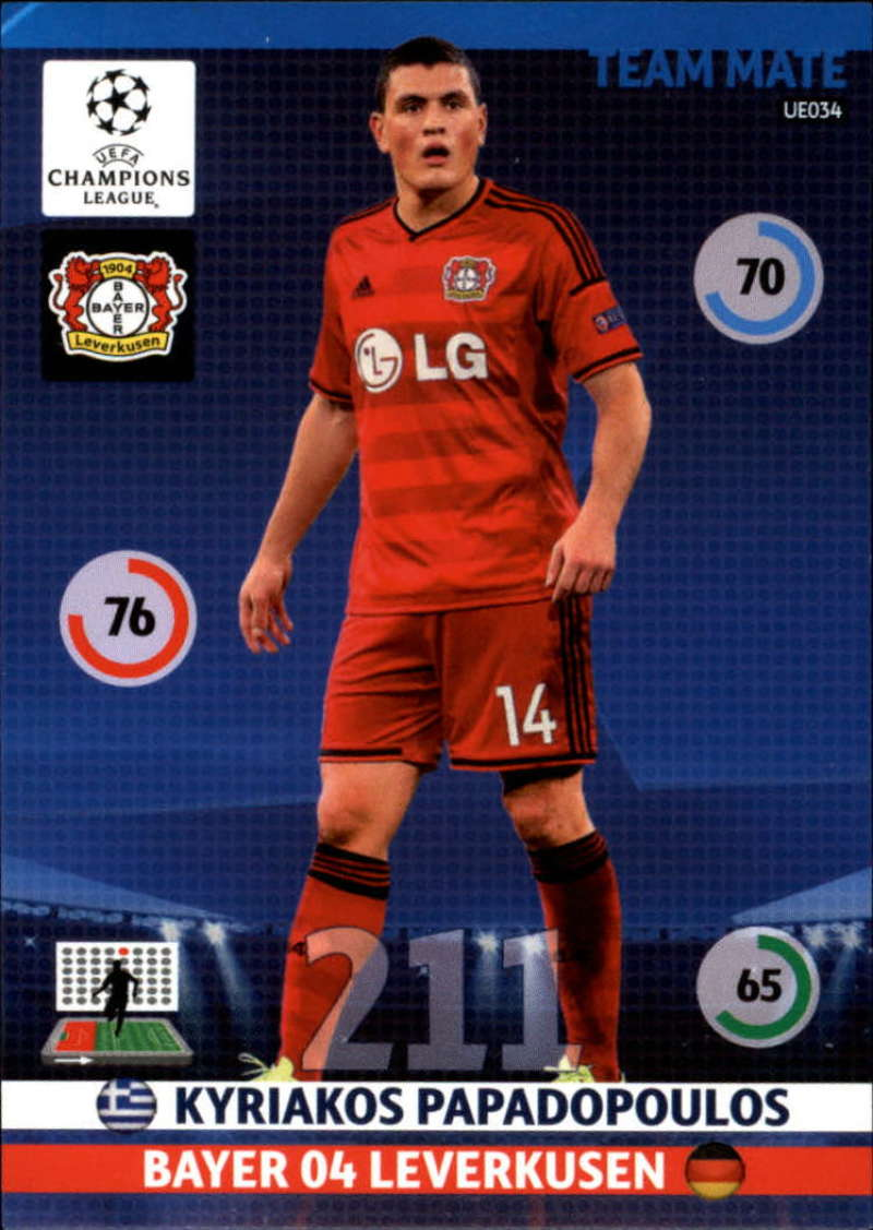 2014-15 UEFA Champions League Adrenalyn XL Update Edition Soccer #UE034 Kyriakos Papadopoulos Bayer 04 Leverkusen  Official Futbol Trading Card by Pan