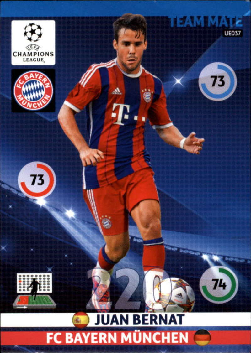 2014-15 UEFA Champions League Adrenalyn XL Update Edition Soccer #UE037 Juan Bernat Bayern Munchen  Official Futbol Trading Card by Panini