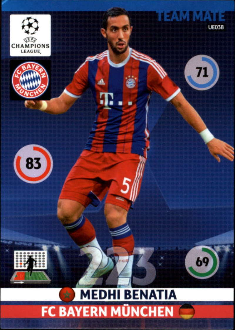 2014-15 UEFA Champions League Adrenalyn XL Update Edition Soccer #UE038 Medhi Benatia Bayern Munchen  Official Futbol Trading Card by Panini