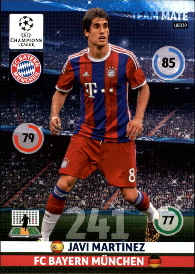 2014-15 UEFA Champions League Adrenalyn XL Update Edition Soccer #UE039 Javi Martinez Bayern Munchen  Official Futbol Trading Card by Panini