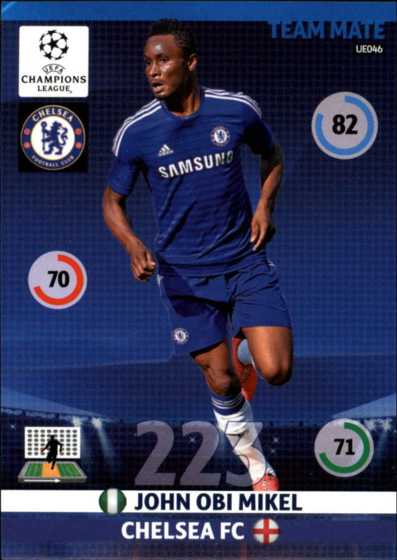2014-15 UEFA Champions League Adrenalyn XL Update Edition Soccer #UE046 John Obi Mikel Chelsea  Official Futbol Trading Card by Panini