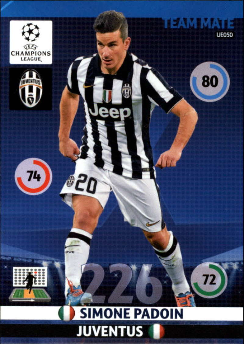 2014-15 UEFA Champions League Adrenalyn XL Update Edition Soccer #UE050 Simone Padoin Juventus  Official Futbol Trading Card by Panini