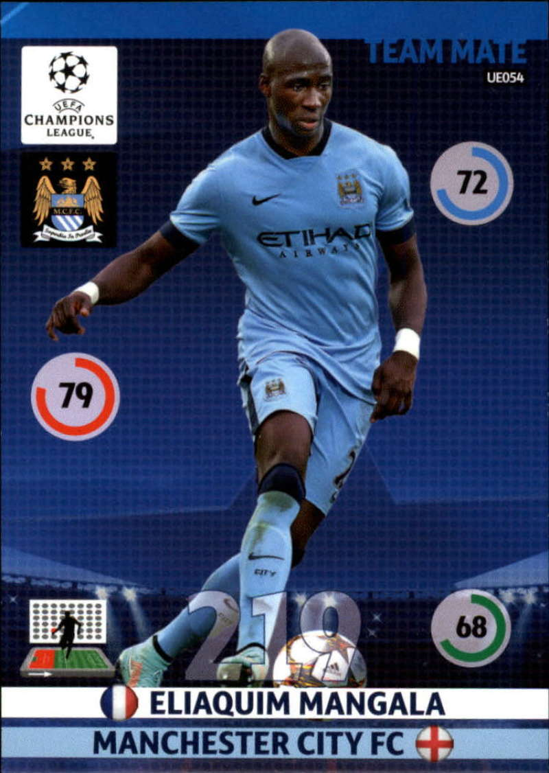 2014-15 UEFA Champions League Adrenalyn XL Update Edition Soccer #UE054 Eliaquim Mangala Manchester City  Official Futbol Trading Card by Panini