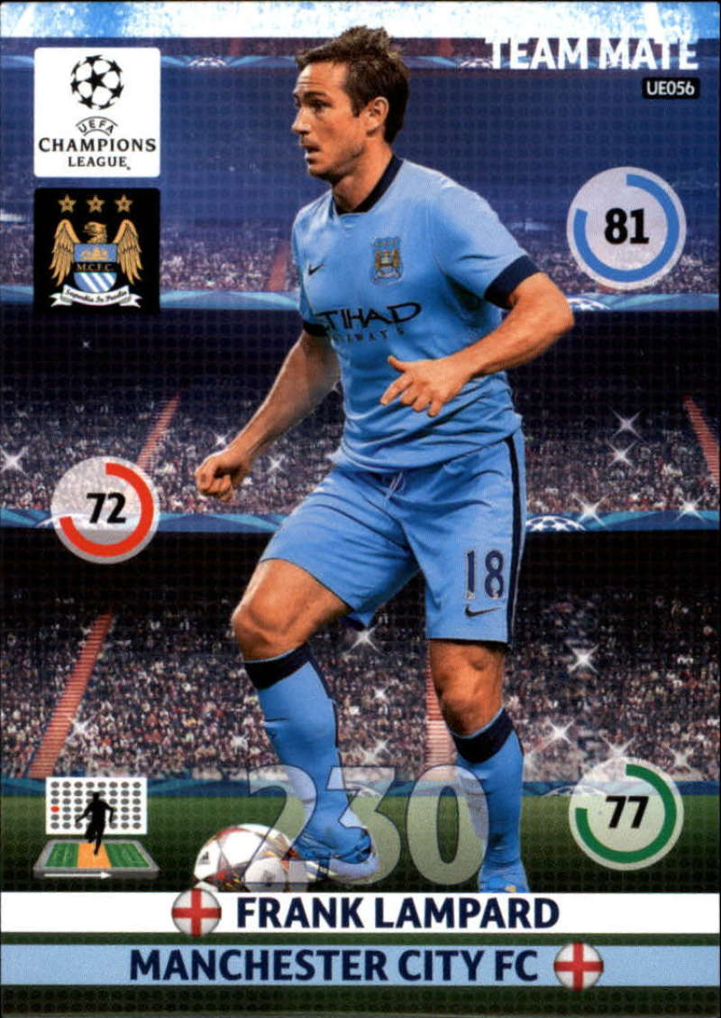 2014-15 UEFA Champions League Adrenalyn XL Update Edition Soccer #UE056 Frank Lampard Manchester City  Official Futbol Trading Card by Panini