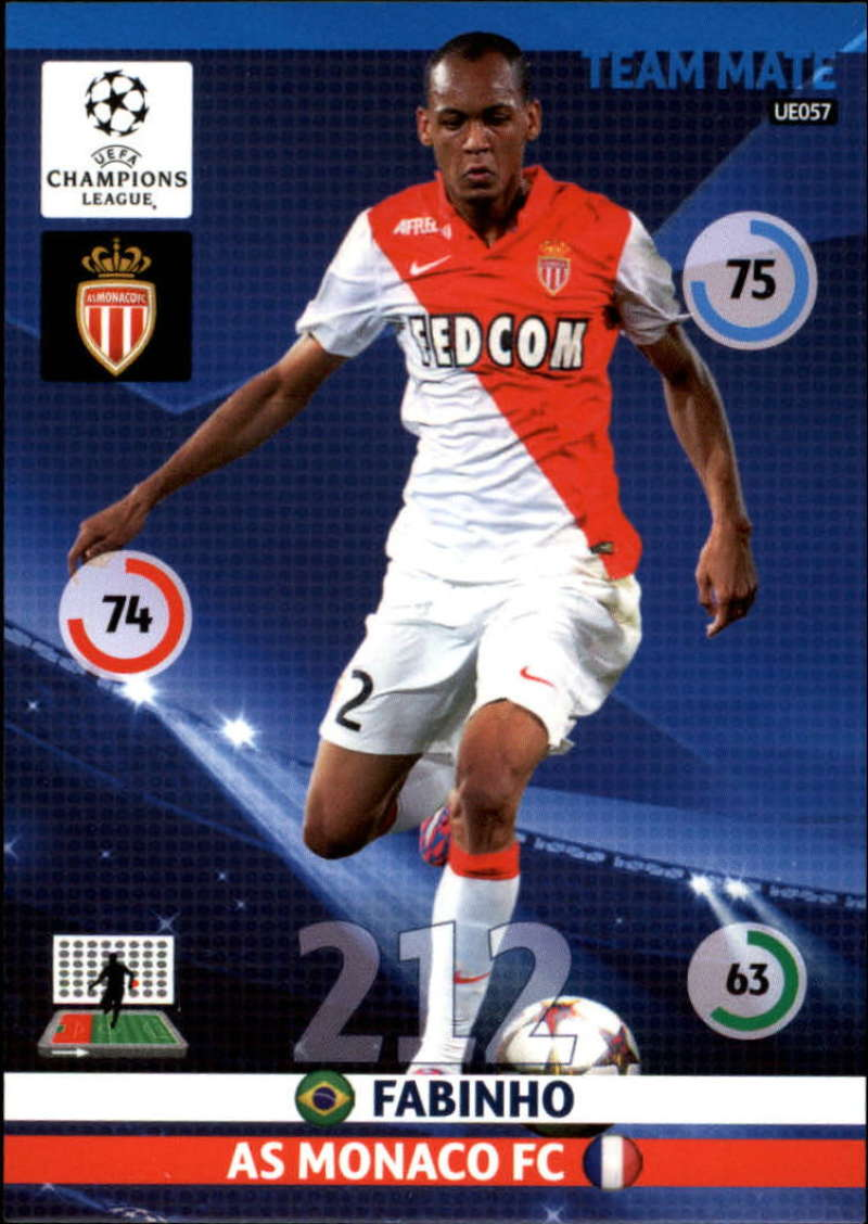 2014-15 UEFA Champions League Adrenalyn XL Update Edition Soccer #UE057 Fabinho AS Monaco  Official Futbol Trading Card by Panini