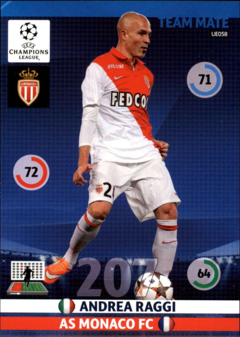 2014-15 UEFA Champions League Adrenalyn XL Update Edition Soccer #UE058 Andrea Raggi AS Monaco  Official Futbol Trading Card by Panini