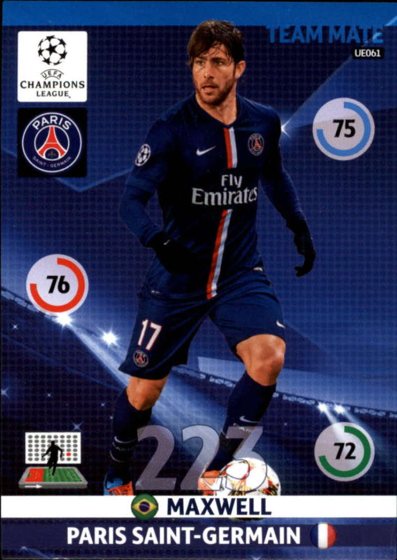 2014-15 UEFA Champions League Adrenalyn XL Update Edition Soccer #UE061 Maxwell Paris Saint-Germain  Official Futbol Trading Card by Panini