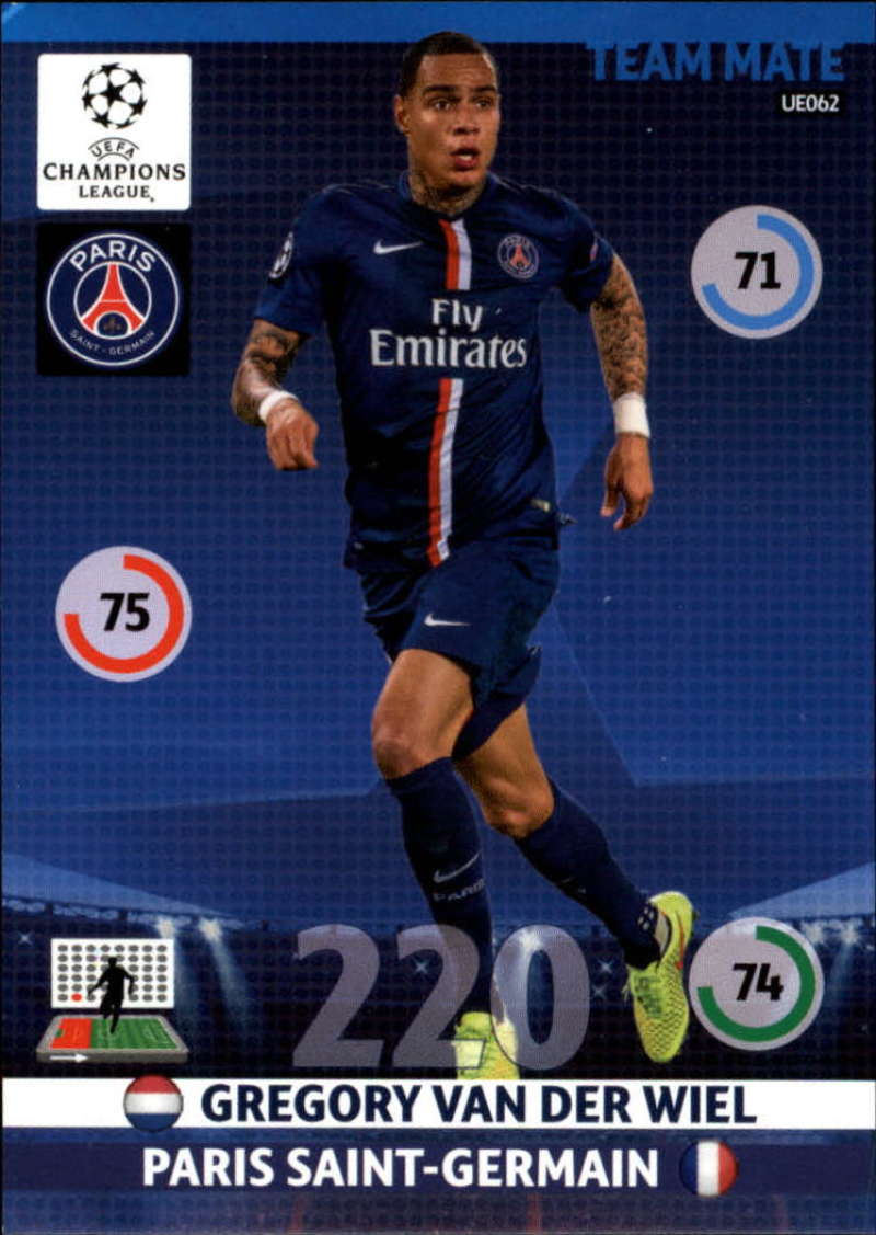 2014-15 UEFA Champions League Adrenalyn XL Update Edition Soccer #UE062 Gregory van der Wiel Paris Saint-Germain  Official Futbol Trading Card by Pani