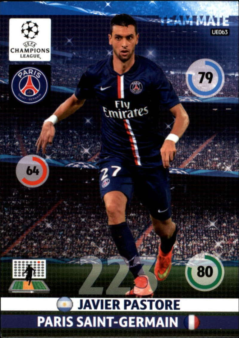2014-15 UEFA Champions League Adrenalyn XL Update Edition Soccer #UE063 Javier Pastore Paris Saint-Germain  Official Futbol Trading Card by Panini