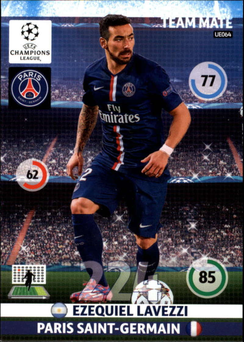2014-15 UEFA Champions League Adrenalyn XL Update Edition Soccer #UE064 Ezequiel Lavezzi Paris Saint-Germain  Official Futbol Trading Card by Panini