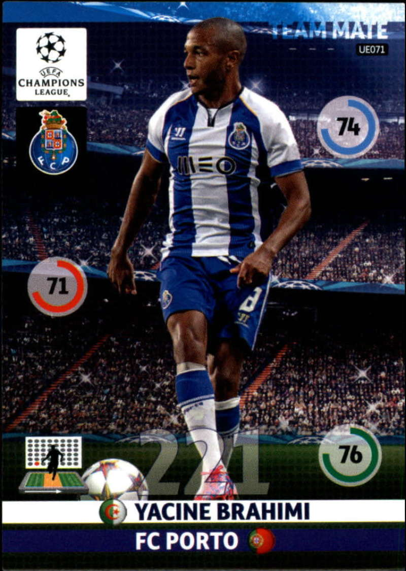 2014-15 UEFA Champions League Adrenalyn XL Update Edition Soccer #UE071 Yacine Brahimi Porto  Official Futbol Trading Card by Panini