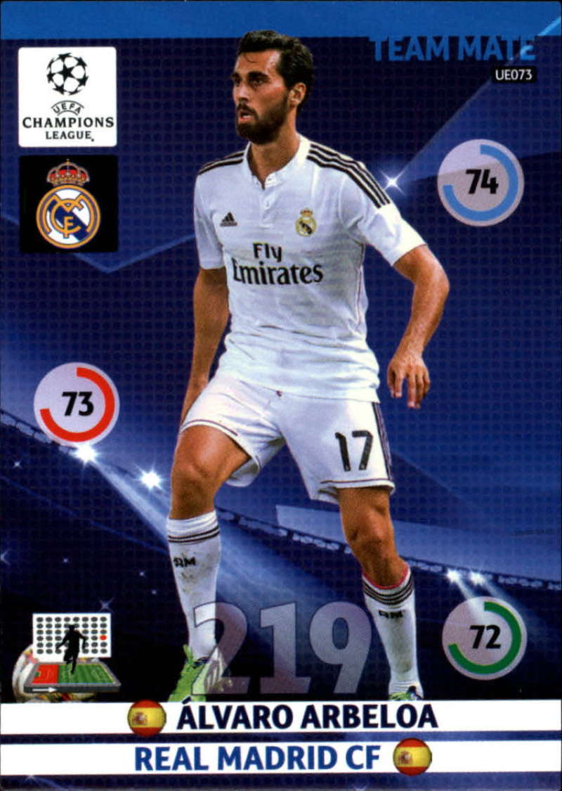 2014-15 UEFA Champions League Adrenalyn XL Update Edition Soccer #UE073 Alvaro Arbeloa Real Madrid  Official Futbol Trading Card by Panini