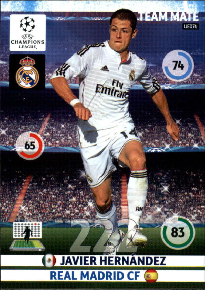 2014-15 UEFA Champions League Adrenalyn XL Update Edition Soccer #UE076 Javier Hernandez Real Madrid  Official Futbol Trading Card by Panini