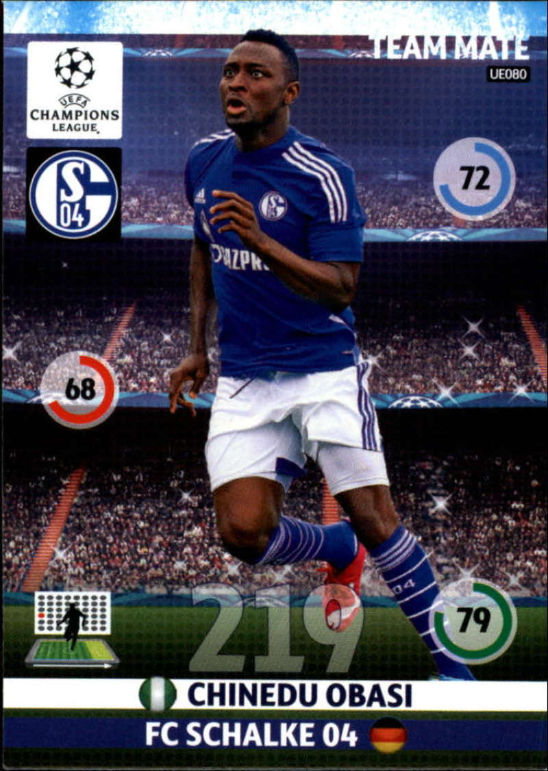 2014-15 UEFA Champions League Adrenalyn XL Update Edition Soccer #UE080 Chinedu Obasi FC Schalke 04  Official Futbol Trading Card by Panini