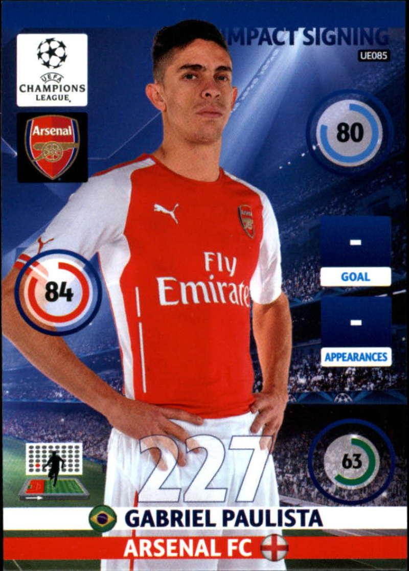 2014-15 UEFA Champions League Adrenalyn XL Update Edition Soccer #UE085 Gabriel Paulista Arsenal  Official Futbol Trading Card by Panini