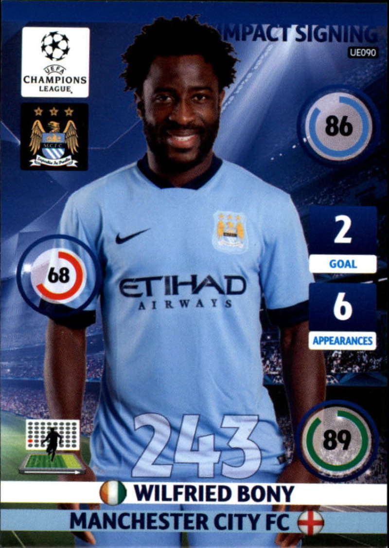 2014-15 UEFA Champions League Adrenalyn XL Update Edition Soccer #UE090 Wilfried Bony Manchester City  Official Futbol Trading Card by Panini