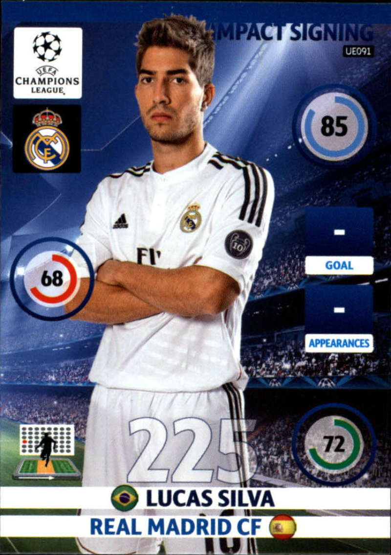 2014-15 UEFA Champions League Adrenalyn XL Update Edition Soccer #UE091 Lucas Silva Real Madrid  Official Futbol Trading Card by Panini