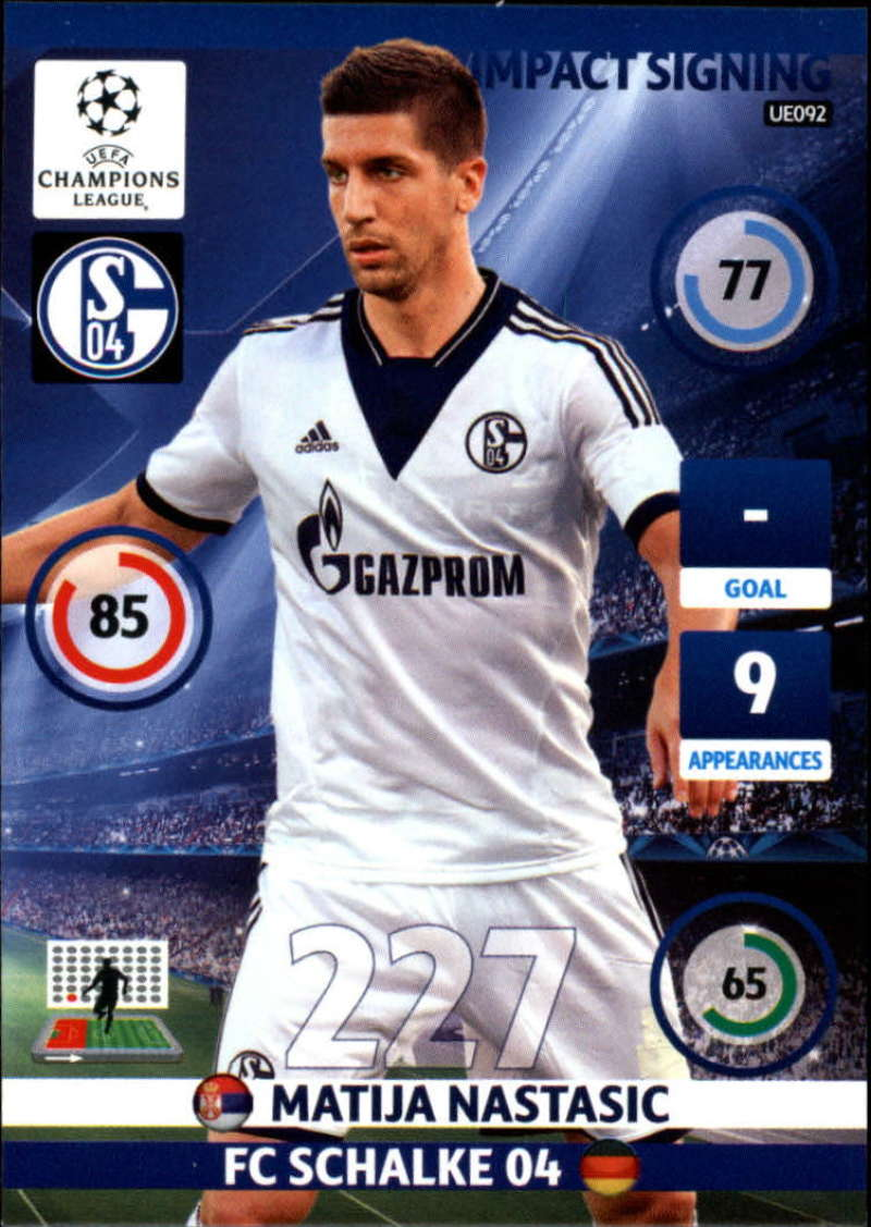 2014-15 UEFA Champions League Adrenalyn XL Update Edition Soccer #UE092 Matija Nastasic FC Schalke 04  Official Futbol Trading Card by Panini