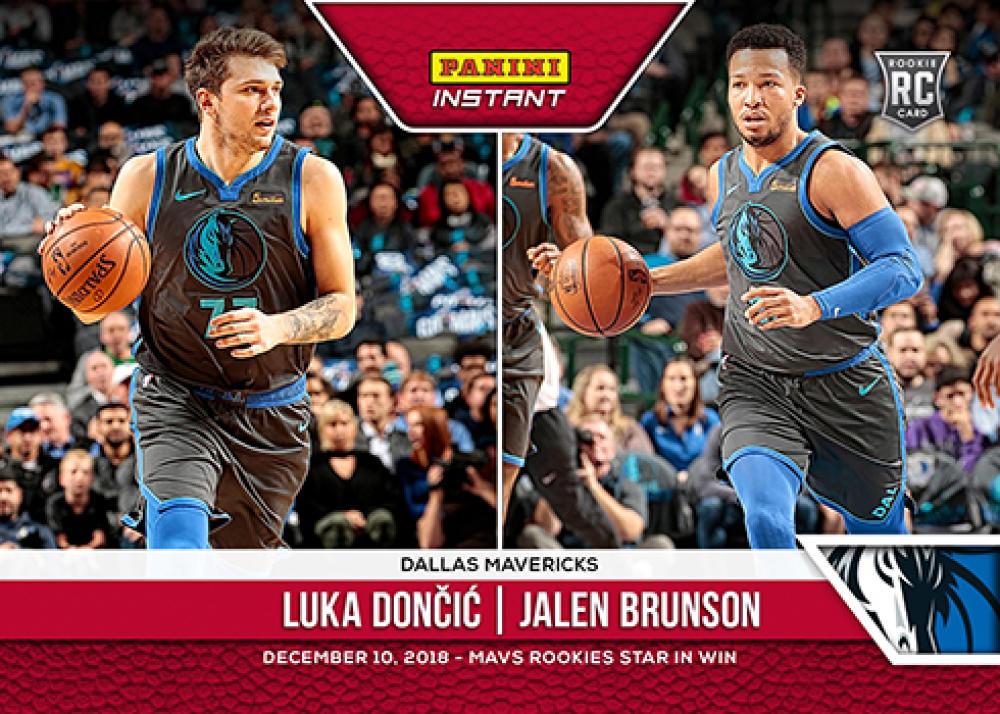 2018-19 Panini Instant NBA Basketball #50 Luka Doncic/Jalen Brunson RC Rookie Dallas Mavericks  Mavs Rookies Star in Win Print Run 84