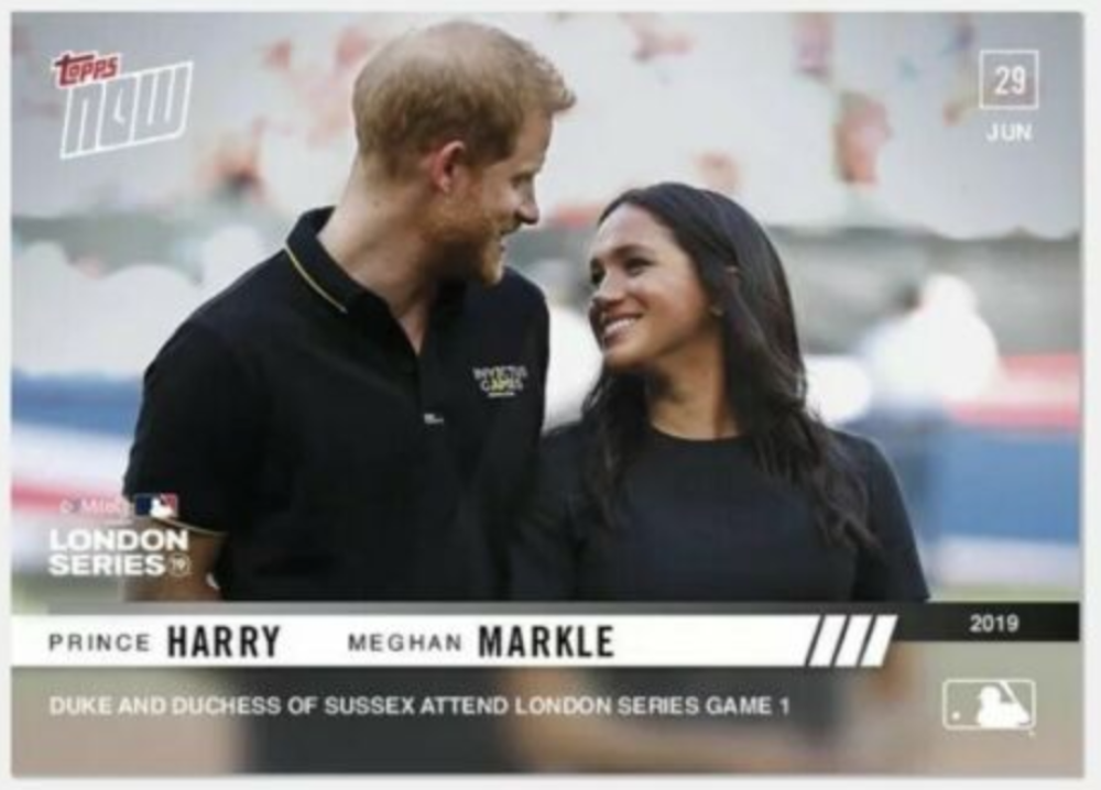 2019 MLB Topps Now Baseball #448 Prince Harry/Meghan Markle  Duke and Duchess of Sussex Attend LONDON SERIES GAME 1 LIMITED PRINT RUN