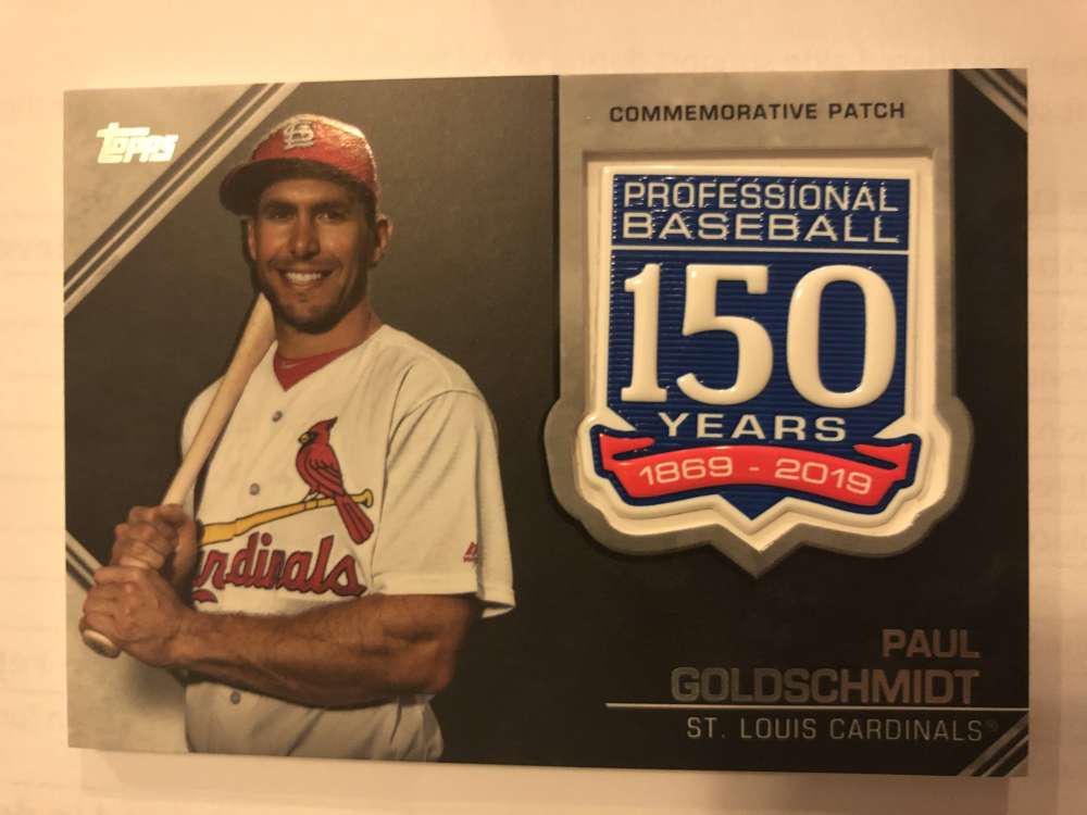 2019 Topps Update Series 150th Anniversary Commemorative Patch AMP-PG Paul Goldschmidt St. Louis Cardinals  Official MLB Baseball Trading Card BLASTER