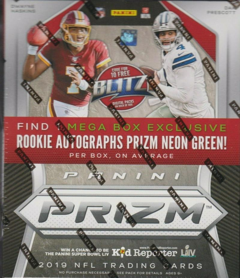 2019 Panini Prizm Football Mega Box with 10 packs (4 cards per pack) Look 1 neon green rookie auto per box on average