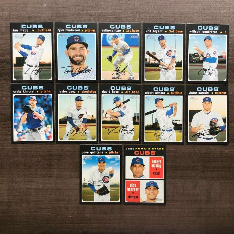 2020 Topps Heritage Baseball Chicago Cubs Base MLB Team Set of 12 Cards: #	26	 	Jose Quintana	, #	31	 	Victor Caratini	,