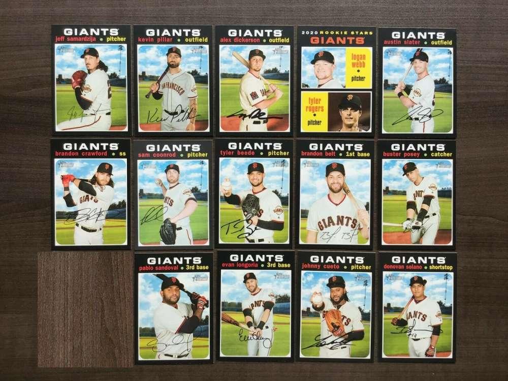 2020 Topps Heritage Baseball San Francisco Giants Base MLB Team Set of 15 Cards: #9 Donovan Solano, #16 Johnny Cu