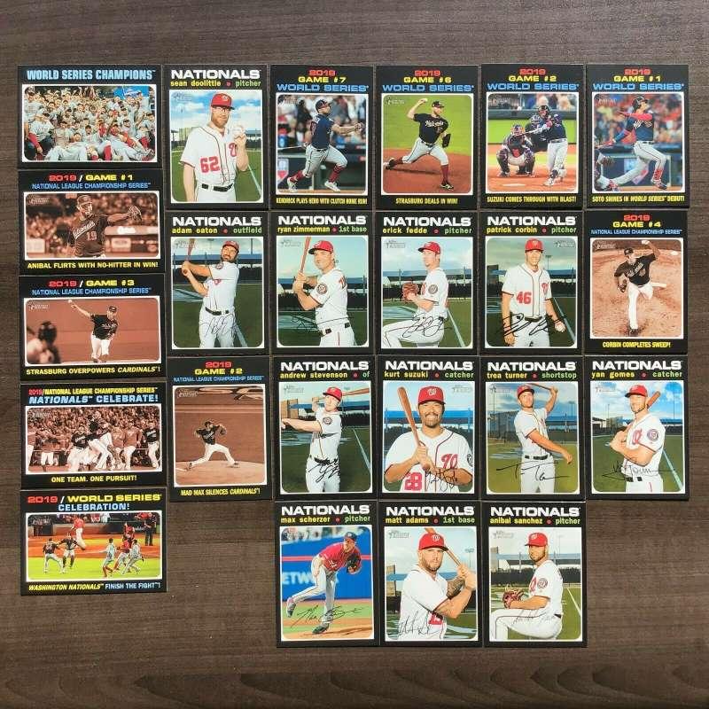 2020 Topps Heritage Baseball Washington Nationals Base MLB Team Set of 24 Cards: #1 World Series Champions, #15 A