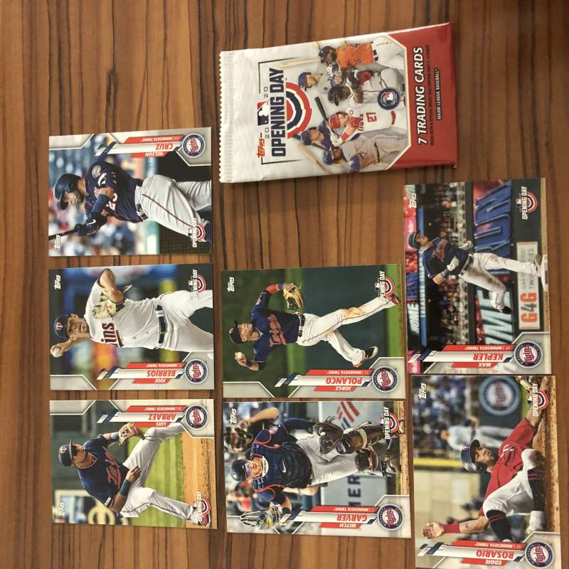2020 Topps Opening Day Baseball Minnesota Twins Base MLB Team Set of 7 Cards: #	11 Luis Arraez 40 Mitch Garver 93 Nelson
