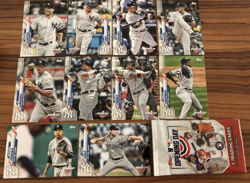 2020 Topps Opening Day Baseball New York Yankees Base MLB Team Set of 10 Cards: #7 James Paxton 21 Gerrit Cole 31 Aaron