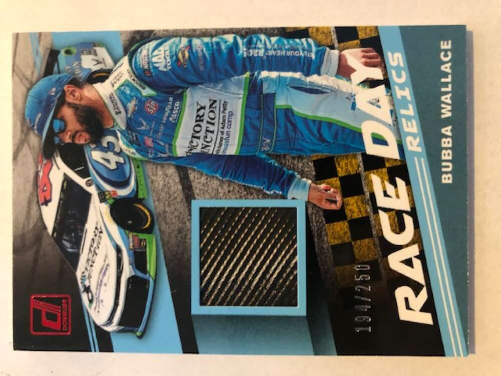 2020 Donruss Racing Race Day Relics Red #5 Bubba Wallace MEM S250 Victory Junction/Richard Petty Motorsports/Chevrolet  Official NASCAR Trading Card m