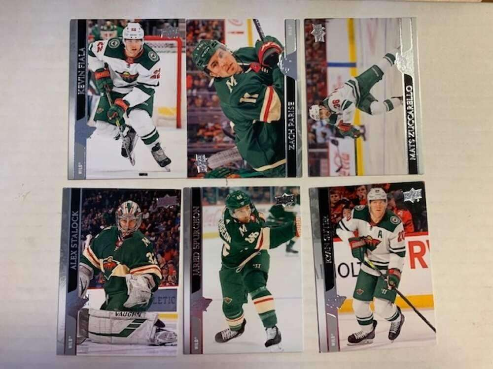 2020-21 UD Upper Deck Series One Minnesota Wild Base Veteran Team Set of 6 Cards:  #89 Kevin Fiala,  #90 Zach Pari All Cards Pack Fresh, Hand Co
