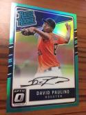 Baseball MLB 2017 Donruss Optic Rated Rookies Signatures Aqua #14 David Paulino NM-MT Auto /125 Astros